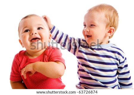 Portrait of cheerful  baby friends