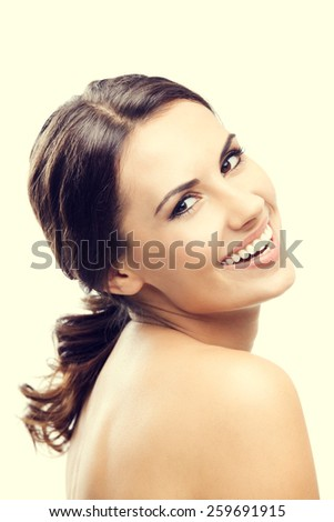 Portrait of cheerful beautiful young woman