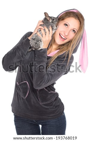 Portrait of cheerful blond woman with chinchilla. Isolated on white - stock photo