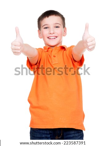 Portrait of cheerful boy showing thumbs up gesture - isolated over white. - stock photo