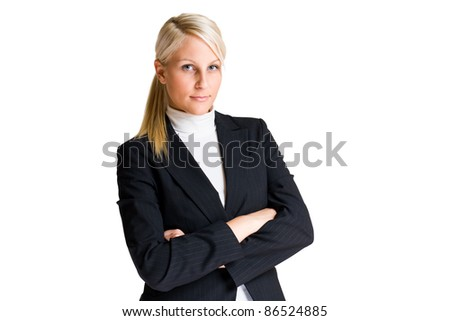 Portrait of cheerful elegant business woman isolated on white. - stock photo