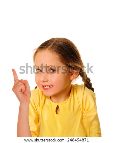 Portrait of cheerful girl with good idea - stock photo