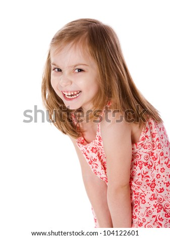 portrait of cheerful  Little Girl isolated on white - stock photo