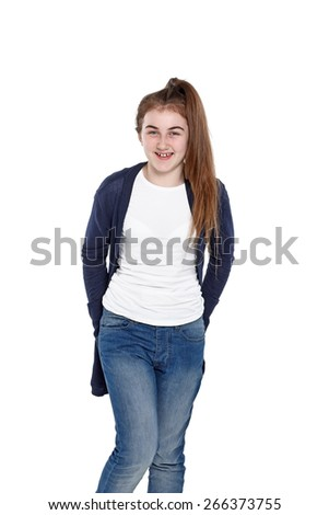 Portrait of cheerful little girl standing on white background looking at camera - stock photo