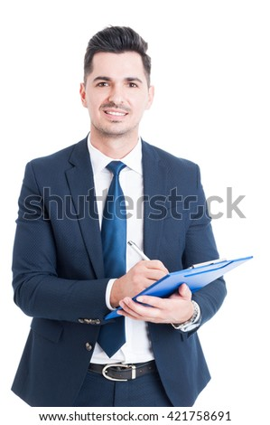 Portrait of cheerful salesman with clipboard taking notes as successful business concept isolated on white - stock photo