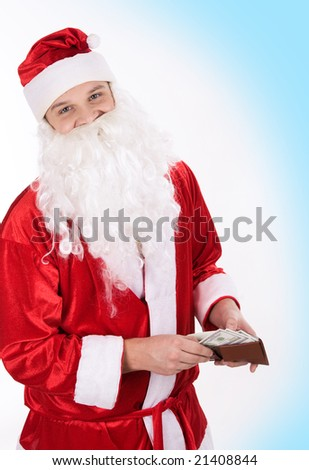 Portrait of cheerful Santa holding wallet in hands and looking at camera - stock photo
