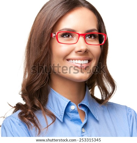 Portrait of cheerful thinking young businesswoman in glasses, isolated against white background - stock photo