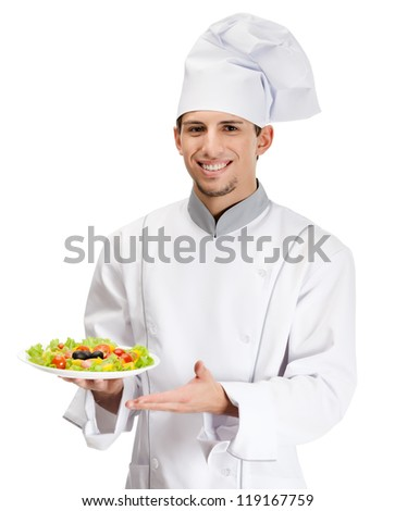 Portrait of chef cook showing salad dish, isolated on white - stock photo