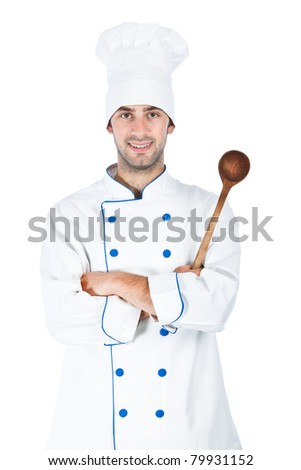 Portrait of chef isolated over white background