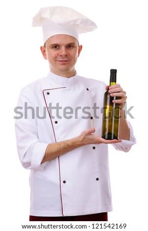 portrait of chef with wine isolated on white - stock photo