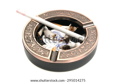 portrait of child and cigarette butts in ashtray on white - stock photo