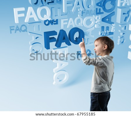 portrait of child and 3d faq background - stock photo