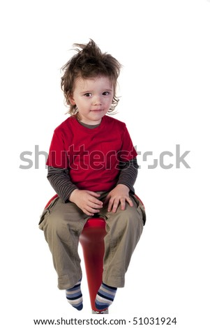 Portrait of child looking at camera - stock photo