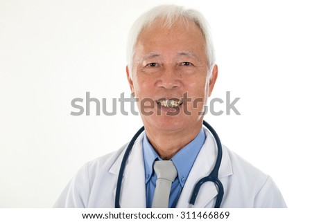 portrait of chinese senior doctor - stock photo