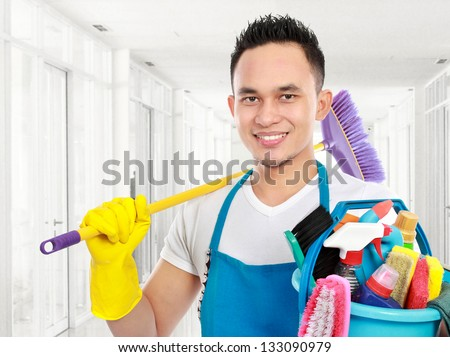 portrait of cleaning service cleaning the office - stock photo
