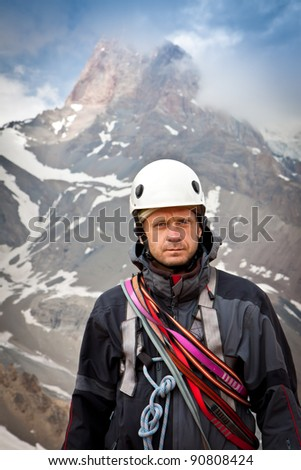 Portrait of climber - stock photo