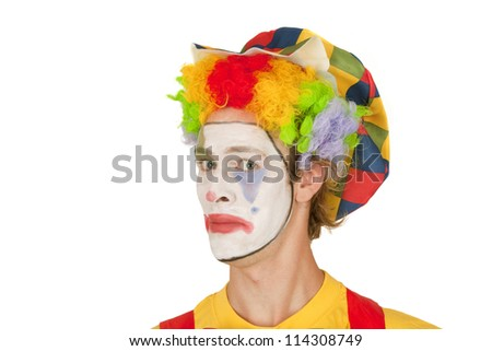 Portrait of colorful Clown isolated on white background - stock photo