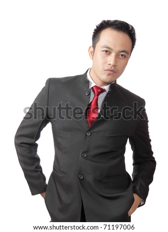 portrait of confidence man wearing suit isolated on white background
