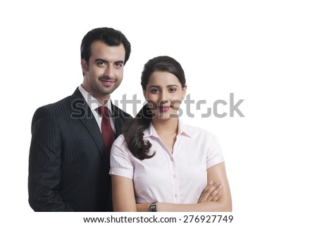 Portrait of confident business colleagues over white background - stock photo