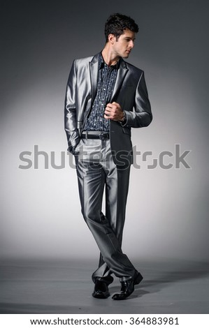Portrait of confident business man isolated over light background - stock photo