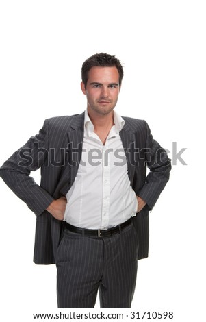 Portrait of confident business man isolated over white background - stock photo