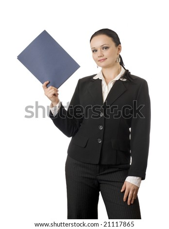 Portrait of  confident  business woman on white background - stock photo