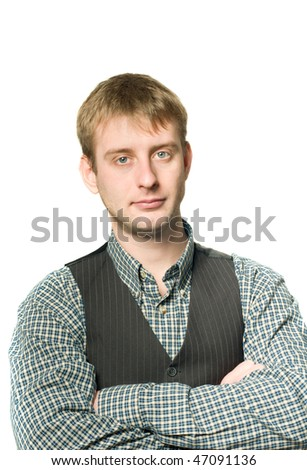 Portrait of confident businessman isolated on white - stock photo