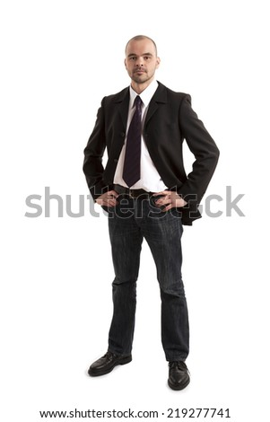 Portrait of confident businessman on white background