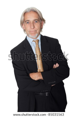 Portrait of confident businessman on white background - stock photo