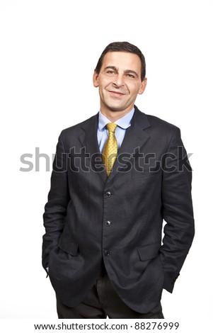 Portrait of confident businessman over white background - stock photo