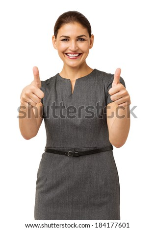 Portrait of confident businesswoman gesturing thumbs up isolated over white background. Vertical shot. - stock photo