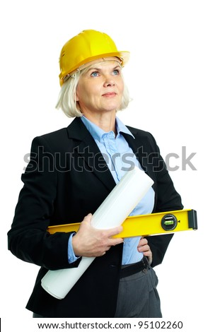 Portrait of confident businesswoman in helmet holding rolled blueprints and instrument - stock photo