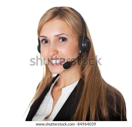 Portrait of confident call center representative - stock photo