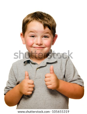 Portrait of confident child showing thumbs up isolated one white - stock photo