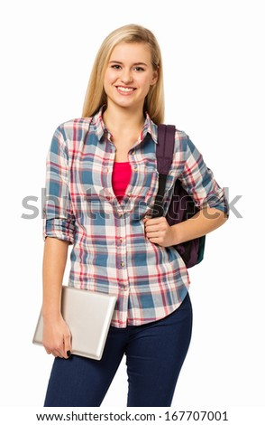 Portrait of confident college student holding digital tablet against white background. Vertical shot.