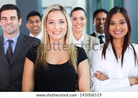 portrait of confident group business people - stock photo