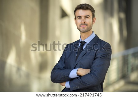 Portrait of confident lawyer outside the office - stock photo
