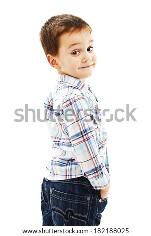 Portrait of confident little boy.  Isolated on white background  - stock photo