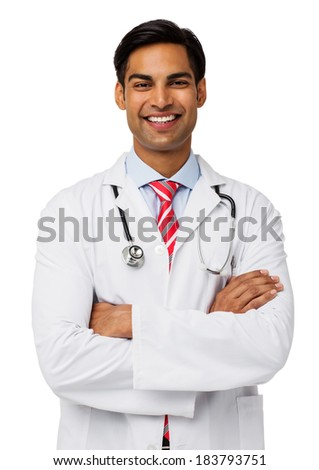 Portrait of confident male doctor standing arms crossed isolated over white background. Vertical shot. - stock photo