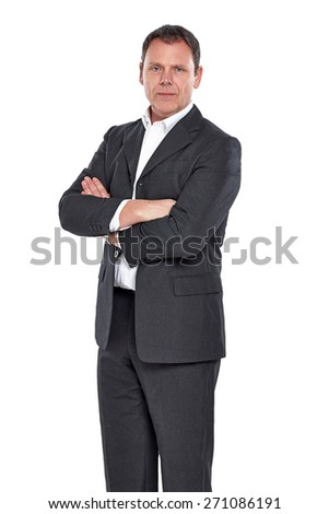Portrait of confident mature businessman with his arms crossed against white background - stock photo