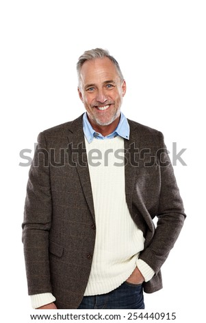 Portrait of confident mature guy standing relaxed on white background - stock photo