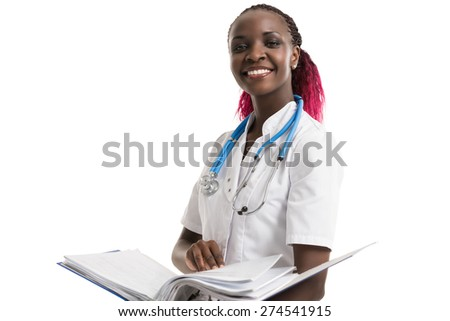 Portrait of confident young medical doctor holding medical records on white background - stock photo