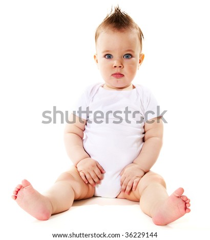 portrait of confusion baby boy - stock photo