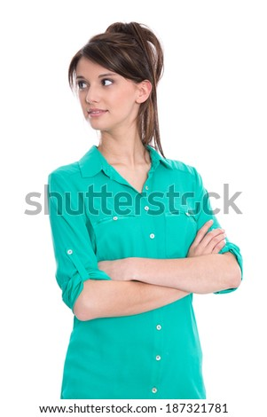 Portrait of considering woman with crossed arms isolated on white.  - stock photo