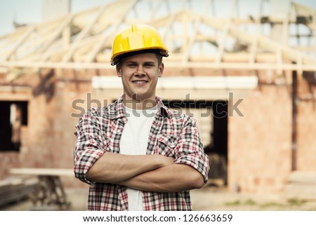 Portrait of construction worker - stock photo