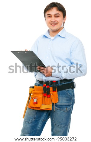 Portrait of construction worker with clipboard - stock photo