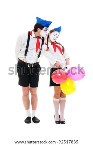 portrait of couple mimes. isolated on white background - stock photo