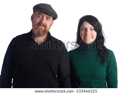 portrait of Couple on white background