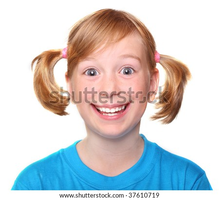 Portrait of crazy smiling little girl - stock photo
