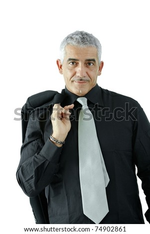 Portrait of creative looking mature businessman, smiling, isolated on white background.? - stock photo